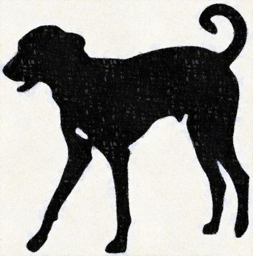 šuo, siluetas, juoda, kreida, dažymas, šepetys, gyvūnas, naminis gyvūnėlis, draugas, paklusnumas, simbolis, piešimas, šuo siluetas ii