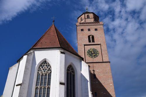 Donauwörth,bažnyčia,katalikų,bokštas,pastatas,religija,katalikų bažnyčia,garbinimo namai,turnuhr,dangus,debesys,tradicija,Senamiestis,miesto bažnyčia,miesto bažnyčia donauwörth