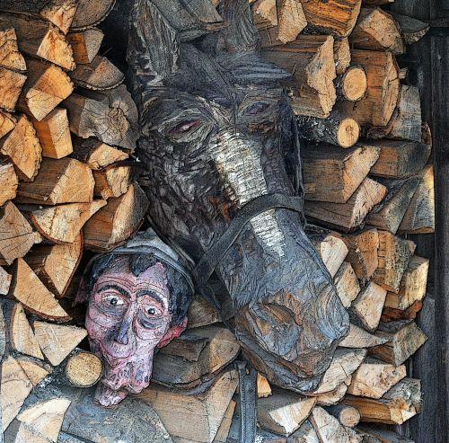 asilas, vyras, žurnalas, rąstai, mediena, raižyti, drožyba, skulptūra, medžio drožyba, menas, asilas ir vyras medžio drožyba