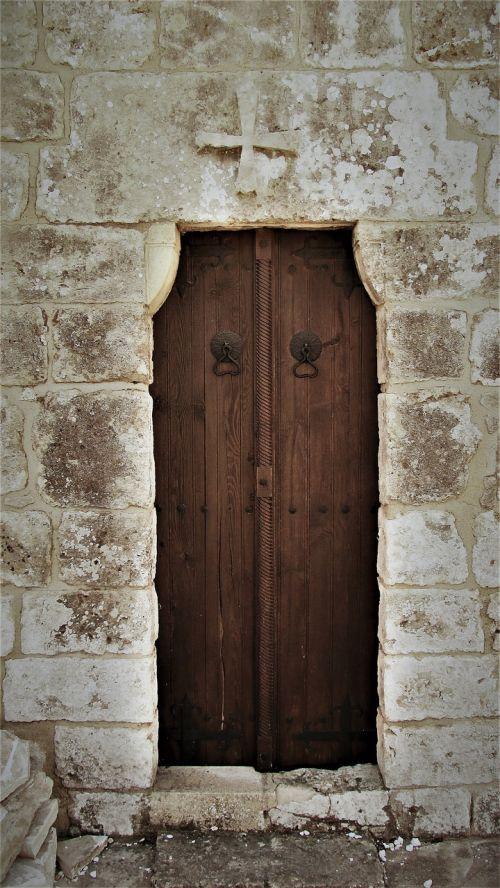durys,medinis,įėjimas,senas,architektūra,bažnyčia,viduramžių,ayia varvara,ayia napa,Kipras