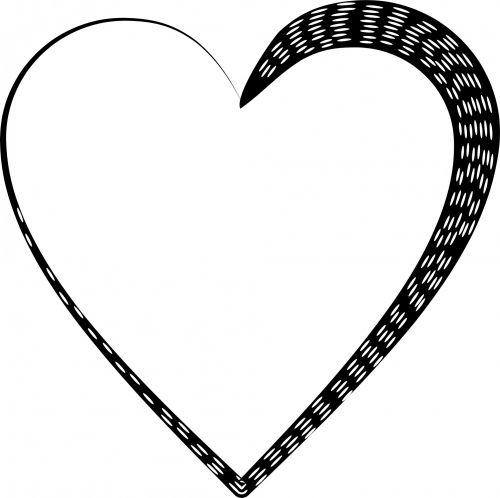 siluetas, dotted, širdis, juoda, izoliuotas, balta, fonas, meilė, tatuiruotė, punktyrinė širdis