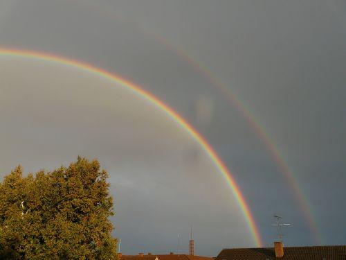 dviguba vaivorykštė,antrinė vaivorykštė,vaivorykštė,veidrodis,refrakcija,dvigubas,du,reiškinys,lietus,saulės šviesa,dangus,gamta,spektras,spalvinga,gamtos reiškinys,vaivorykštės spalvos,ray,natūralus spektaklis,žinoma,įspūdingas,debesys,pusiau ratas