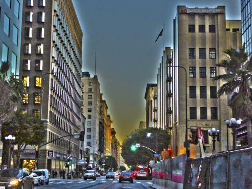 los & nbsp, angeles, miestas, miesto, dusk, dangoraižiai, gyvenimo būdas, eismas, pastatai, meno, dažytos, Downtown los angeles dusk