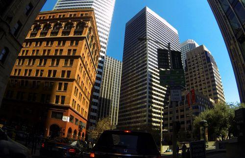 dangoraižiai, miestas, centro, San & nbsp, francisco, verslas, Fisheye, pastatas, architektūra, ženklai, eismas, Downtown san francisco