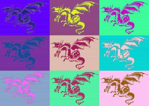 drakonai, gyvūnai, tatuiruotė, Warhol, stilius, žvėrys, legenda, piešimas, drakonai nustatyti