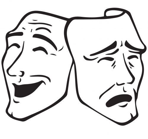 dramos, teatras, kaukė, teatras, spektaklis, Rodyti, kultūra, pramogos, žaisti, teatras, opera, komedija, tragedija, koncertas, vektorius, lineart, įvykis, simbolis, dramos kaukes