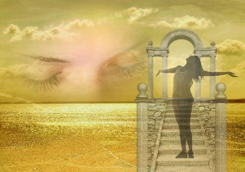 svajones,fantazija,nerealu,svajonė,drambliuko svajonės,ilgesys,viltis,nuotaika,dangus,auksas,akys,miegoti,moteris,mintis,galvoti