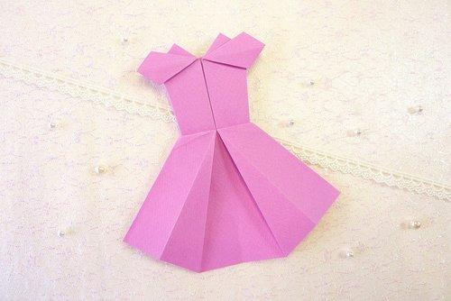 suknelė, origami, rožinis