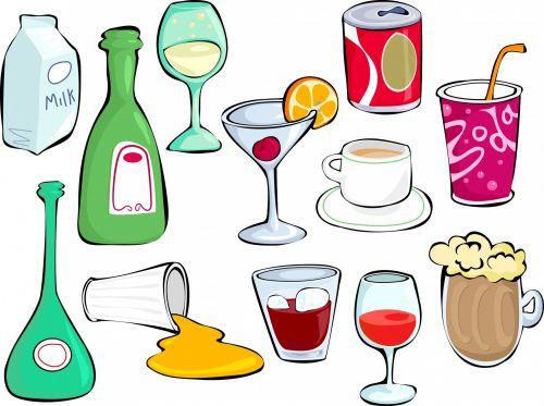 Iliustracijos, clip & nbsp, menas, iliustracija, grafika, animacinis filmas, gėrimai, gėrimai, užkandžiai, alkoholis, alkoholiniai & nbsp, gėrimai, soda, stiklas, sultys, kokteilis, vynas, pienas, alus, ale, Lager, pinti, arbata, taurė, butelis, nustatyti, objektai, doodles, gėrimų rinkinys