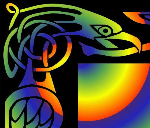 erelis, simbolis, tatuiruotė, gradientas, spalvos, gyvas, erelio simbolis 2