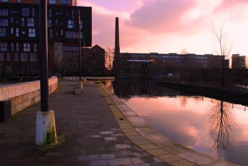 kanalas, Mančesteris, vakaras, saulė, gamta, architektūra, ankstyvas vakaras kanalu
