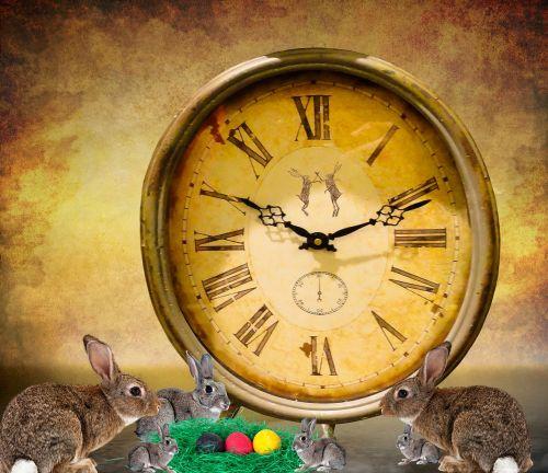 Velykos,Velykų lizdas,Velykų kiaušiniai,kiaušinis,apdaila,Velykinis sveikinimas,triušis,Velyku Triusis,laikrodis,laikas,laukti