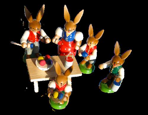 Velykų zuikių šeima,dažyti,Velykų kiaušiniai,Velykos,spalvinga,skaičiai,mediena,draugiškas,izoliuotas