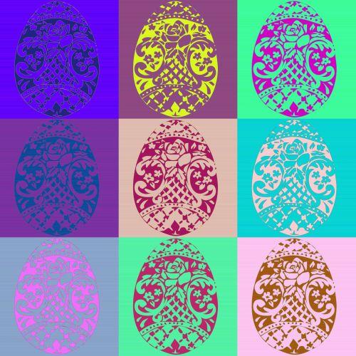 kiaušiniai, Velykos, Warhol, stilius, nustatyti, spalva, šventė, dažymas, Velykų kiaušiniai nustatyti