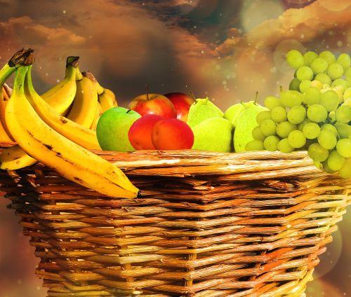 valgyti,maistas,vaisiai,vaisių krepšys,krepšelis,vaisiai,vitaminai,Veganas,bananai,vynuogės,obuolys,kriaušės,persikas,mityba,derlius,sveikas,skanus