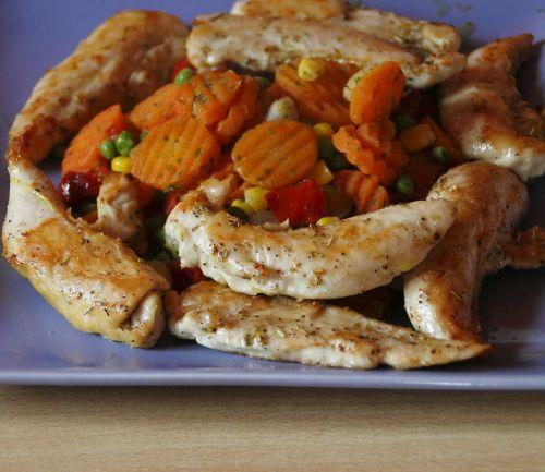 valgyti,daržovės,vištiena,mėsa,maistas,morkos,angliavandeniai