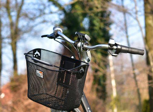 ebike,e-bike,vairai,dviratis,krepšelis,dviračių krepšelis,gražus,naujas,kraštovaizdis,dangus,medis