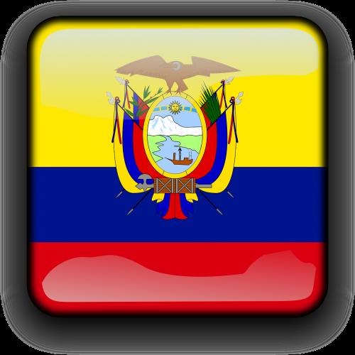 ecuador,vėliava,Šalis,Tautybė,kvadratas,mygtukas,blizgus,nemokama vektorinė grafika