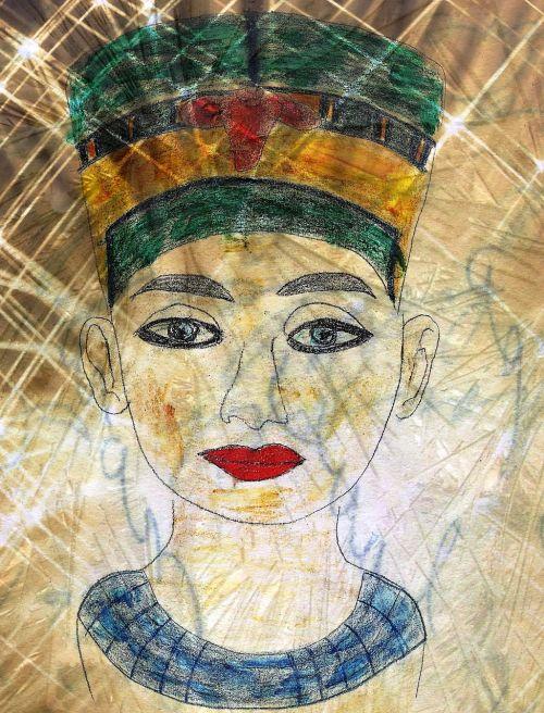 Egiptas,pharaonic,biustas,menas,žinomas,dažymas
