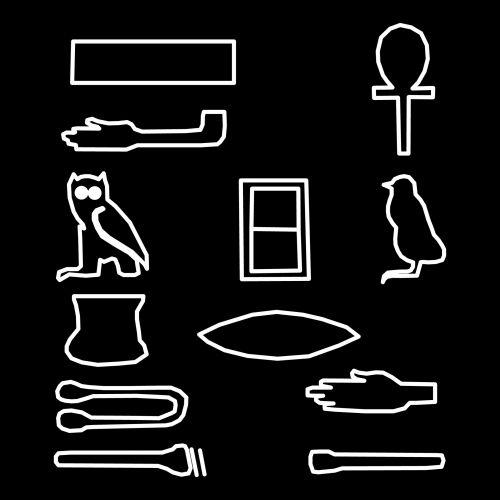 piešimas, nustatyti, grupė, egyptian, simboliai, balta, rašymas, vaizduojamoji, hieroglifas, juoda, fonas, Egiptas, Egipto simboliai
