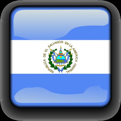 Salvadoras,vėliava,Šalis,Tautybė,kvadratas,mygtukas,blizgus,nemokama vektorinė grafika