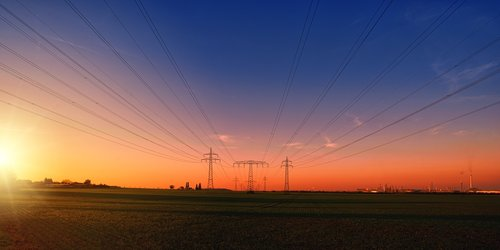 elektros energijos, elektros stulpai, elektros laidai, aukštos įtampos stulpai, aukštos įtampos, jėgos linija, elektros kabelis, industrija, energijos, technologijos, elektrikas, Dabartinis, saulėlydžio, Leuna, Leuna Werke, sustiprinti, oranžinis