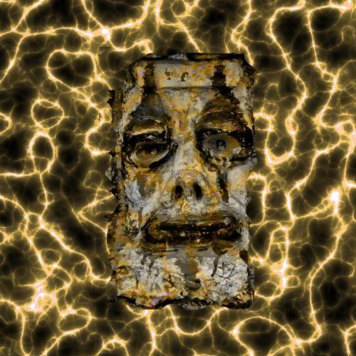 košmaras, veidas, elektrinis, elektra, baisu, freaky, kaukė, žmogaus veidas, kraujavimas, piktadarys, monstras, auksas, velnias, žiaurus, elektros srovė, auksinis, elektrošoko veidas
