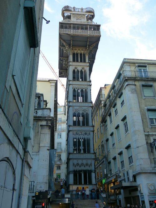 sąžiningas santa liftas,carmo liftas,liftas,keleivių liftas,plieno konstrukcija,lisbonas,lisboa,portugal,Royalty Free