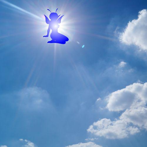 siluetas, Elfas, mėlynas, dangus, debesys, izoliuotas, saulė, spinduliai, piešimas, fėja, Elfas danguje