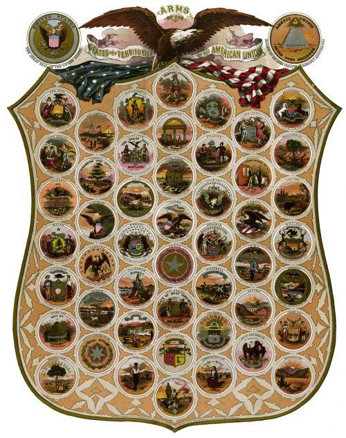 emblemos,valstijos,Jungtinės Valstijos,piešimas,dizainas,senas,istorija,istorinis
