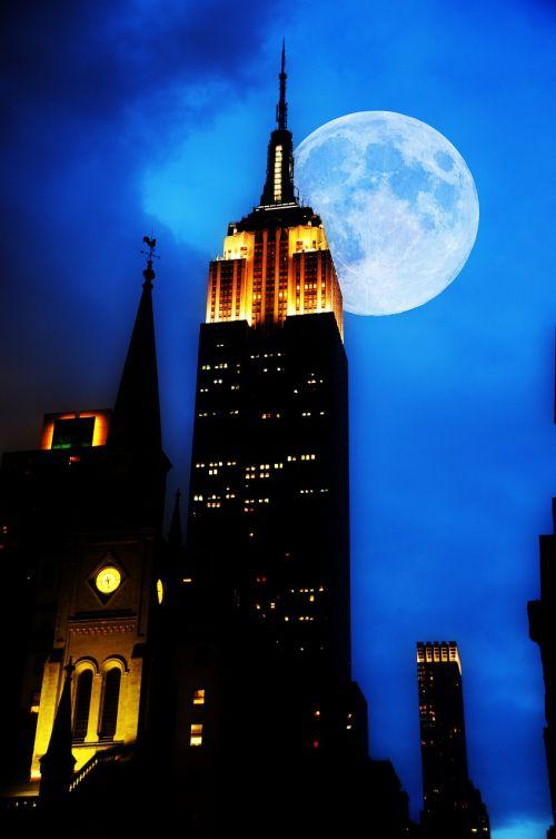 imperijos valstybės pastatas,Niujorkas,naktis,dangoraižis,didelis miestas,nyc,usa,Manhatanas,ny,Niujorkas,dangoraižiai,Jungtinės Valstijos,didelis obuolys,mėnulis,pastatas,miestas