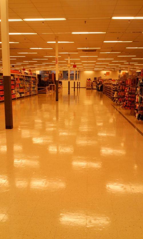 kmart, vaškuotas, grindys, tuščia, laikyti, tuščia parduotuvė