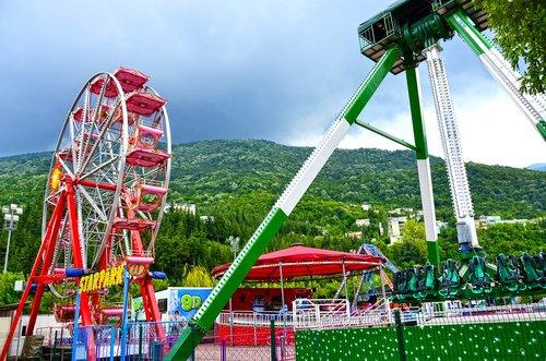 pramogų, pramogų parkas, atrakcija, parkas, šviesus, spalva, skonis, vaikystės, ratas, karuselė, važiuoti, festivalis, Yra tuščias, rotacija