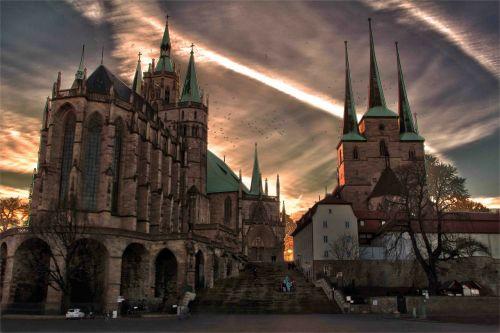 erfurtas,Dom,religija,bažnyčia,bokštai,spiers,filtras,redaguota,foto montavimas,montavimas