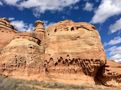 Colorado, kalnai, didelis & nbsp, slėnis, lauke, smiltainis, erozija, smiltainio erozija