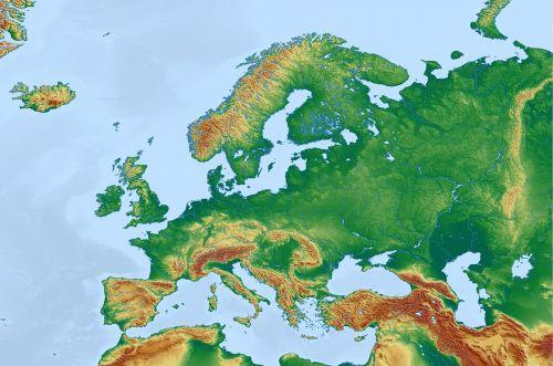 Europa,žemėlapis,fizinis žemėlapis,topografinis žemėlapis,europos žemėlapis,reljefo žemėlapis,kartografija,mercatoriaus projekcija,didelis reljefas,aukščio struktūra,topografija,spalva