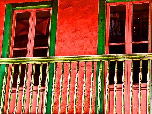 balkonas, architektūra, Ispanija, pastatas, raudona, europietiškas balkonas
