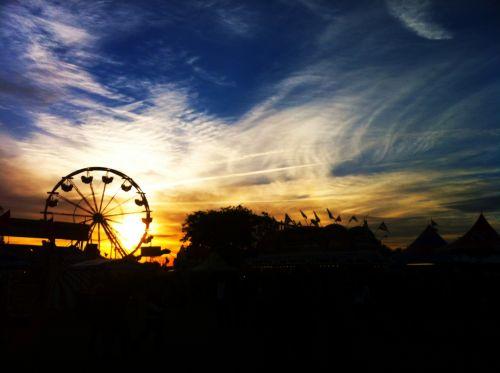 šviesus, atrakcionai, vakaras, saulėlydis, Ferris & nbsp, ratas, vakaras mugėje