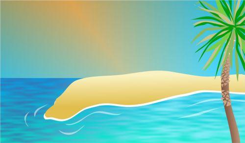 Iliustracijos, clip & nbsp, menas, iliustracija, grafika, fonas, scena, vaizdingas, papludimys, egzotiškas, atogrąžų, jūra, vandenynas, vanduo, mėlynas, smėlis, sala, gamta, augalai, egzotiškas paplūdimio fonas