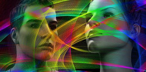 veidas,galva,manekenai,santykiai,vyras,moteris,pora,dalelės,banga,linijos,tinklas,abstraktus,vibracijos,sistema
