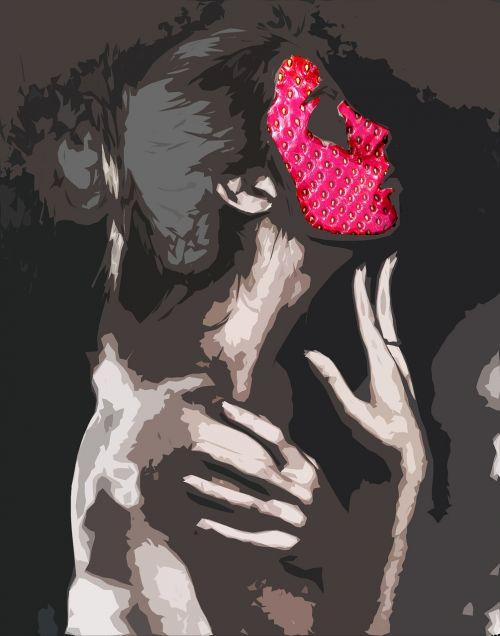 veidas,moterys,braškės,kaklas,plaukai,ranka,abstraktus,sirrealis,sirrealis,mąstymas,atspindys,ausis,atgal,skruostas,raudona,vaisiai,braškės,vasara,vyšnia