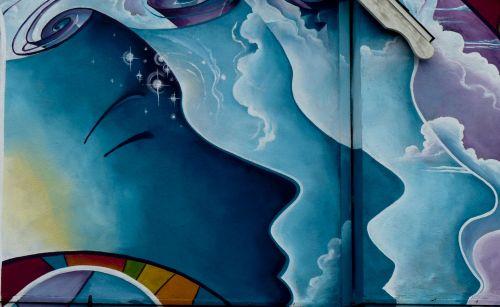 fjeras, veidai, dažytos, turkis, trys veidai, šiuolaikiška, miesto, menas, grafiti, moteris, veidai ant sienos