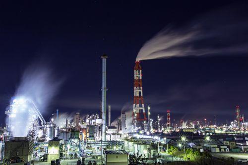 gamykla,pramoninis kompleksas,naktinis vaizdas,Peržiūros,dūmai,lydykla,pramoninis