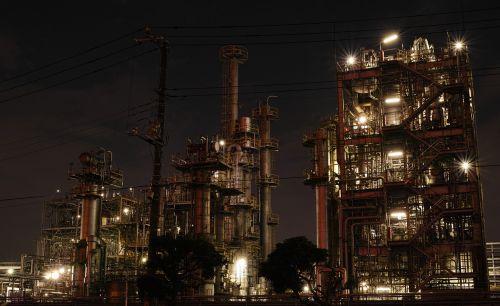 gamykla,naktinis vaizdas,pramoninis,vamzdis,pramoninis kompleksas,pastatas