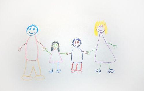šeima,piešimas,vaikai,dažyti,namai
