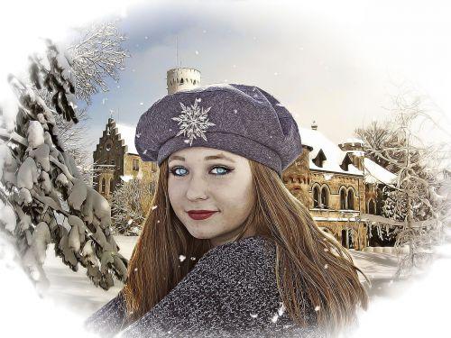 fantazija,Moteris,mergaitė,fantazijos mergina,romantiškas,emocinis,žiema,žiemos svajonė,svajonė