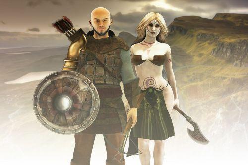 fantazija,fantazijos simboliai,vikingai,vyras ir moteris,epoziniai simboliai,kariai,pora,kostiumas,kalnai,Vikingo žemė,rūkas,viduramžių