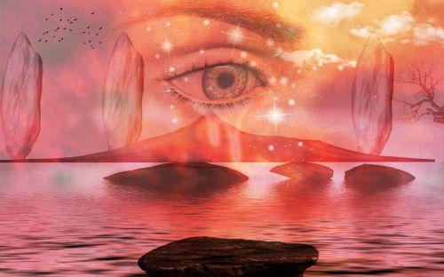 akis, akmenys, vandenys, ašarojimas, ilgesys, fantazija, blakstienos, ežeras, debesys, kraštovaizdis, fonas, moteris, mistikas, fantazija
