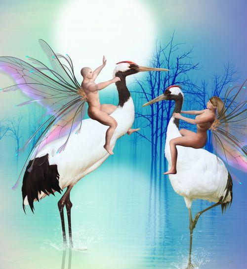 fantazija,fėja,paukštis,magija,pasaka,svajonė,vanduo,atspindys,medis,šviesa,fantazijos mergina,Moteris,moteris,pasaka,pasaka