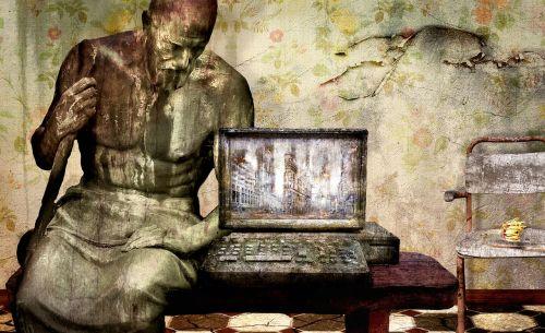fantazija,kompiuteris,statula,erdvė,ištemptas,senas,niūrus,foto montavimas,komponavimas,nuotaika,fantazijos paveikslėlis,kėdė,nerūdijantis,saulės gėlė,niūrus,pabaigos laikas,scena,medinis stalas,apdriskęs,vintage,tapetai,dribsnių,rusvas,modernūs laikai,akmens amžius,akmens amžiaus kompiuteris,paminklas,menas,betono gamykla,gedulas,sąmoningas,skulptūra,pavargęs,figūra,vienas,vienišas,nauja pradžia,emocija,nelaimė,sunaikinimas,apokalipsė,karas,miestas,Ugnis,ekranas,griuvėsiai,siaubas,gotika,purvinas